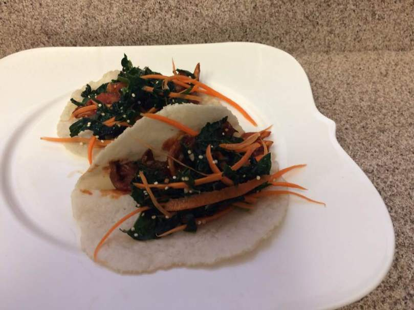 Korean BBQ Oyster Mushroom Tacos with Kaleslaw
